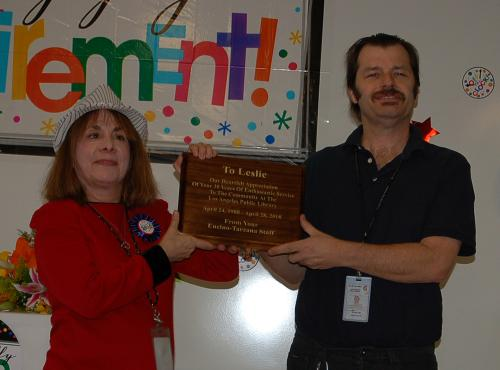 Plaque from Encino-Tarzana Branch Staff